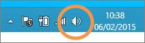 Concentrati sull'icona degli altoparlanti di Windows visualizzata nella barra degli strumenti