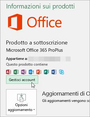Screenshot che mostra la selezione di Gestisci account nella pagina Account in un'applicazione desktop di Office