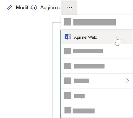 Selezionare i puntini di sospensione (...) per altre opzioni e quindi selezionare Apri sul Web.
