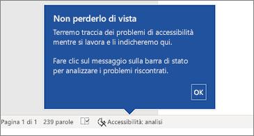 Barra di stato che mostra che Verifica accessibilità è in esecuzione
