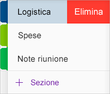 Eliminare una sezione in OneNote per iOS