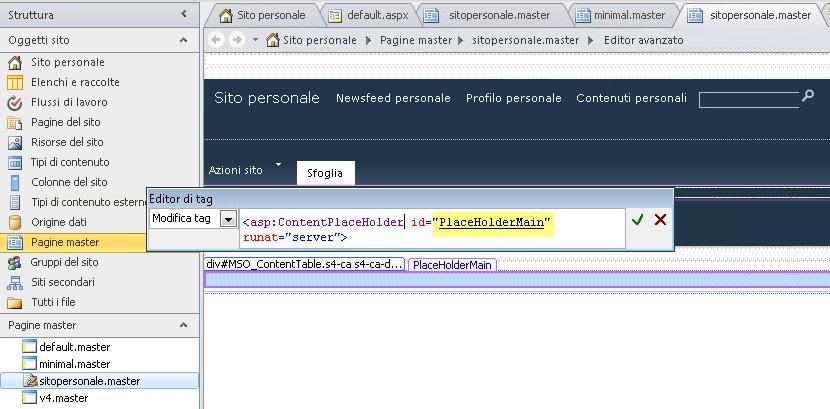 il controllo placeholdermain viene sostituito da ogni pagina contenuto quando la pagina master sito personale viene visualizzata in un browser.