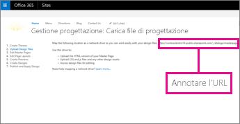 In Gestione progettazione di Office 365 copiare o prendere nota dell'URL