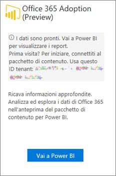 Scegliere Passa a Power BI nella scheda Office 365 Adoption