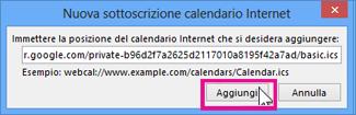 Sottoscrizione a un calendario Internet