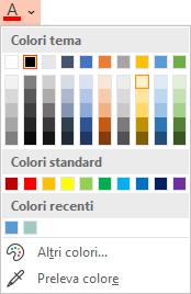 Selezionare questa opzione freccia giù accanto al pulsante Colore carattere per aprire il menu dei colori