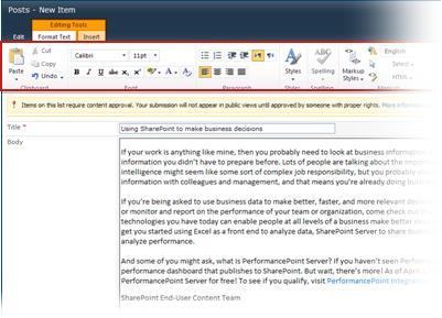 Editor testo RTF per i blog