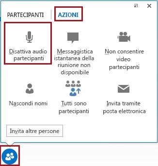Disattivare l'audio di tutti i partecipanti