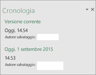 Riquadro Cronologia in Excel 2016 per Windows