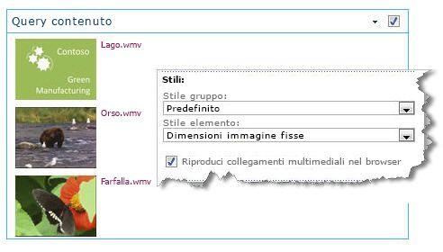 web part query contenuto configurata con dimensioni fisse per le immagini