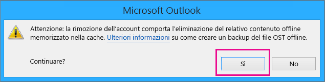 Durante la rimozione dell'account Gmail da Outlook, nell'avviso che chiede conferma dall'eliminazione della cache offline fare clic su Sì.