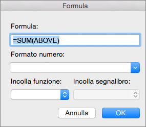 Casella Formula con la formula usata per sommare una colonna