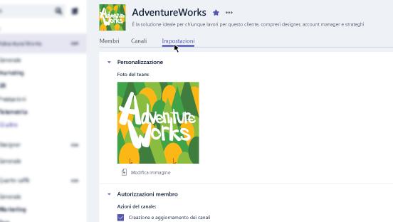 Questa schermata mostra come accedere alle impostazioni del team.