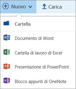 Menu Nuovo in OneDrive