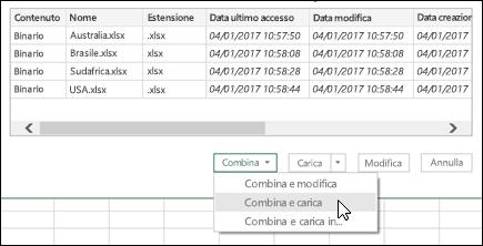 Combinare i file binari combinare & opzione di caricamento