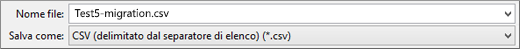 Visualizza l'opzione Salva come CSV in Excel