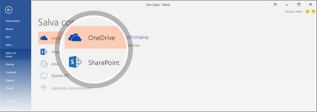 Posizioni di OneDrive e SharePoint per il salvataggio di documenti evidenziate