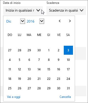 Screenshot del menu Data di inizio espanso per un'attività di Planner.