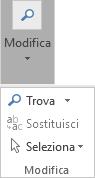 Scegliere Formato testo e quindi Modifica per aprire l'elenco a discesa