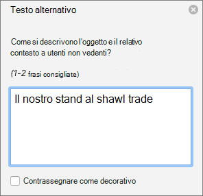 Il riquadro di testo alternativo in Word