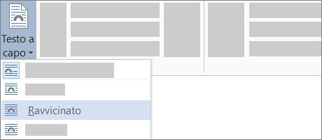 Opzione per il testo a capo Ravvicinato sulla barra multifunzione