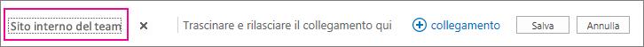 Per rinominare il collegamento ipertestuale nella parte superiore della home page, scegliere Modifica collegamenti.