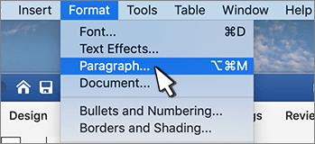 Selezione del paragrafo dal menu formato