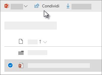 Screenshot che mostra la selezione di un file e il comando Condividi