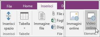 Screenshot che illustra come inserire un video incorporato in OneNote 2016.
