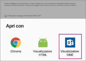 Visualizzatore OME con l'app di posta elettronica Android 2