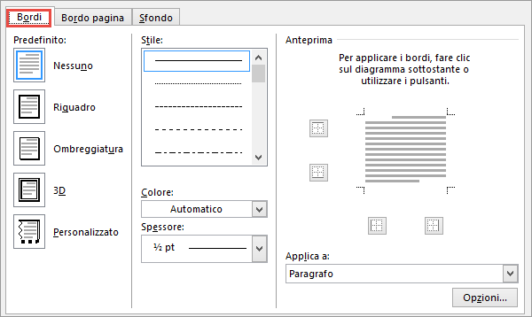 Finestra di dialogo Bordi e sfondo in Word 2010