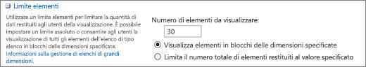 Impostare il numero di elementi da visualizzare nella pagina Impostazioni visualizzazione