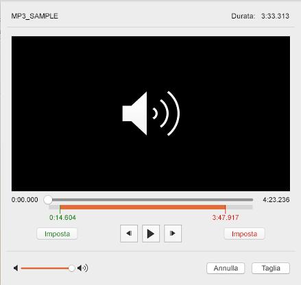 Finestra di dialogo taglia audio