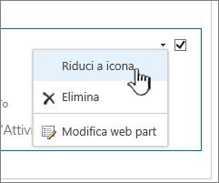Fare clic sulla freccia giù delle impostazioni e scegliere Riduci a icona
