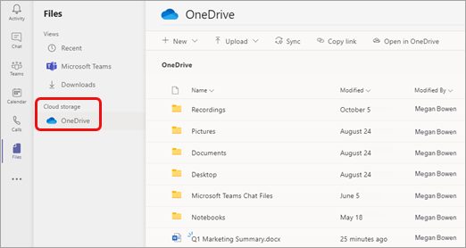 Elenco di cartelle e file in OneDrive