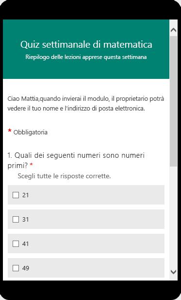 Test di matematica visualizzato in modalità di anteprima su un dispositivo mobile