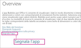 Collegamento per segnalare un'app nell'Office Store