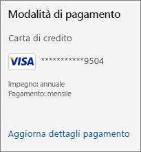 Sezione Modalità di pagamento nella pagina Abbonamento con il collegamento Aggiorna dettagli pagamento.