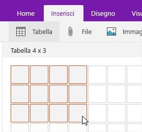 Comando Inserisci tabella che mostra la griglia di selezione