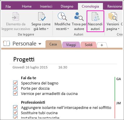 Screenshot del pulsante Nascondi autori in OneNote 2016.