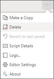 Fare clic sui puntini di sospensione nell'angolo in alto a destra per esporre il menu di scelta rapida, inclusa l'opzione Elimina.