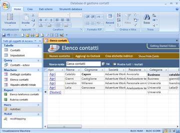 Database Gestione contatti
