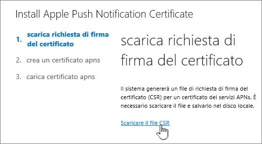 Finestra di dialogo Installa certificato APN
