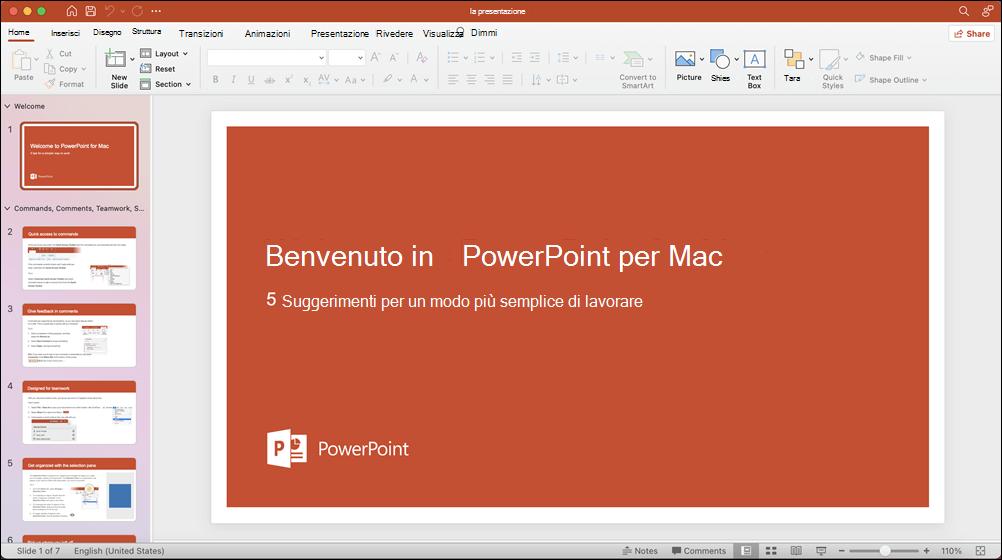 PowerPoint 2021 per Mac con il modello Presentazione aperto