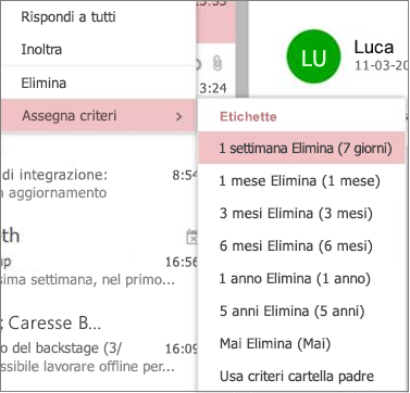 Screenshot di criteri di conservazione di esempio in gruppi in Outlook sul Web