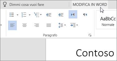 Selezionare Modifica in Word per passare alla versione desktop