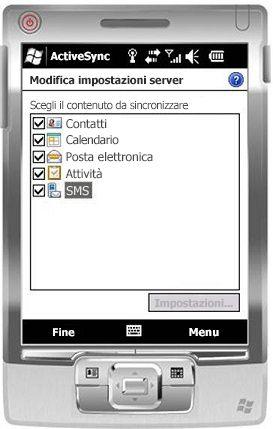 Selezionare la casella di testo SMS in Windows Mobile 6.5