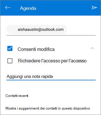 Screenshot di invitare persone a condividere un file da OneDrive per Android