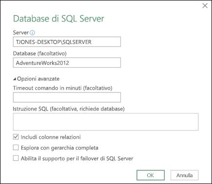 Finestra di dialogo della connessione al database di SQL Server di Power Query