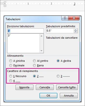 Caratteri di riempimento tabulazione